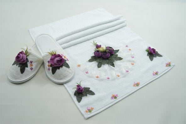 Havlu Terlik Set Mürdüm Çiçek Süslemeli Dantelli Kadife