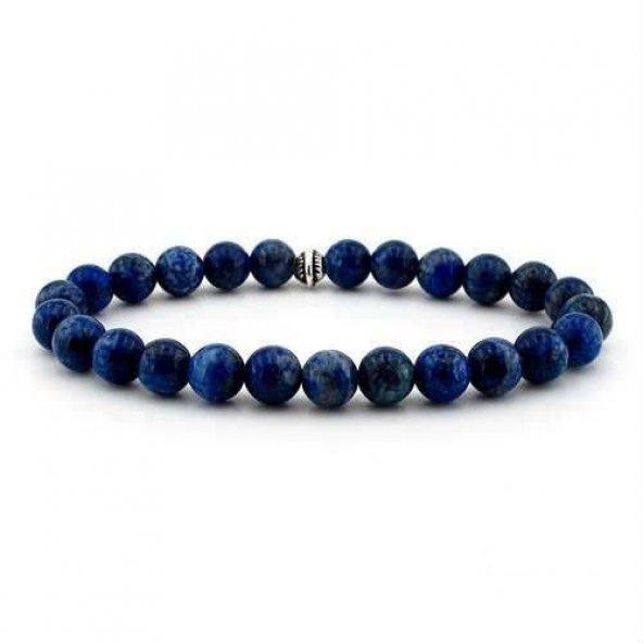 RD EKOAVM Doğal Lapis Lazuli Taşından Lacivert Erkek Bileklik
