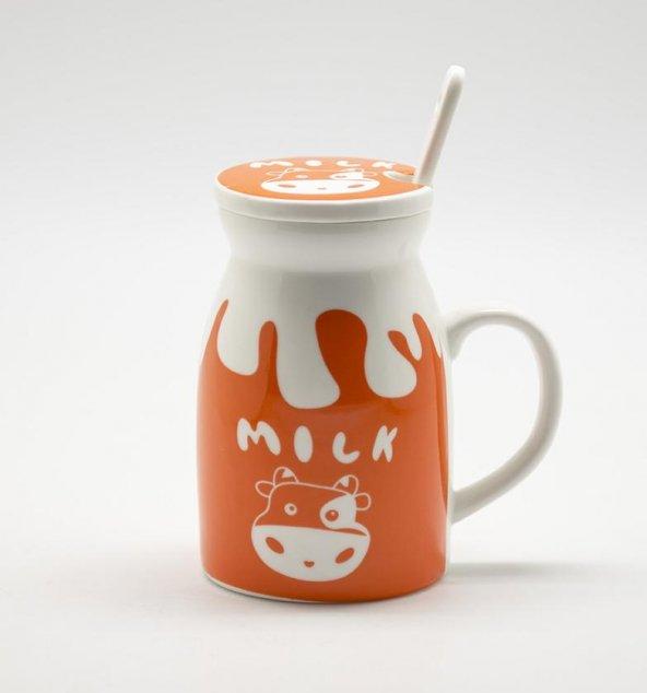 Kaşıklı ve Kapaklı Porselen Süt Kupası Turuncu