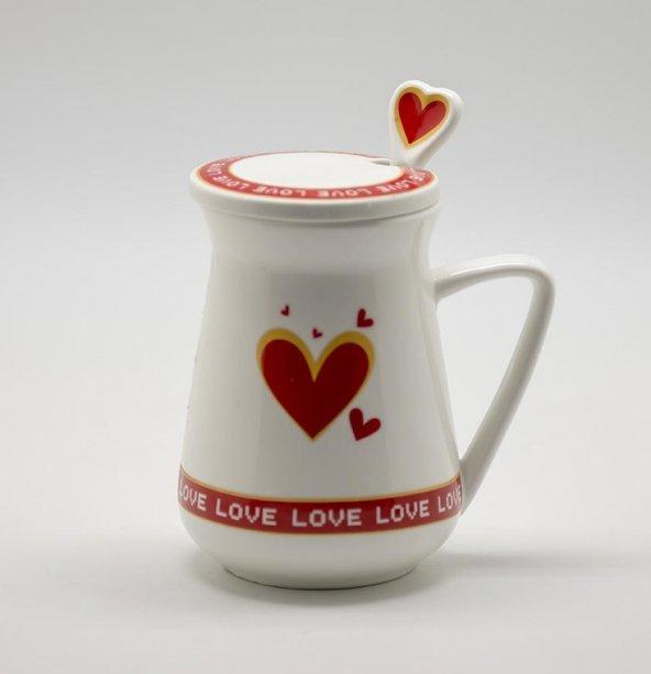 Kaşıklı ve Kapaklı Porselen Süt Kupası Kırmızı