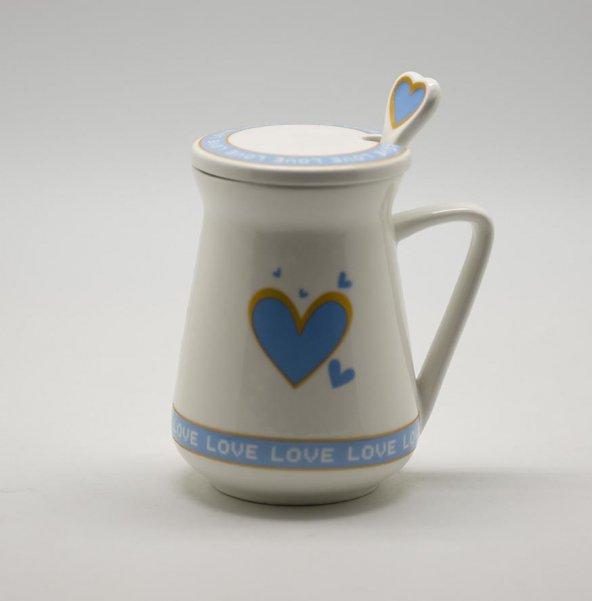 Kaşıklı ve Kapaklı Porselen Süt Kupası Mavi