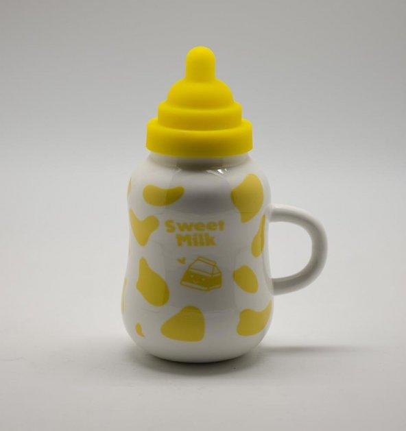 Porselen Biberon Süt Şişesi Sarı