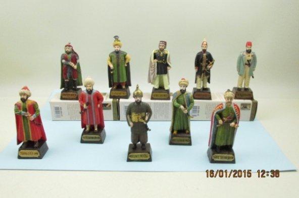 KH.535, Osmanlı Padişahları Seti, 10 lu set, Polyester Döküm, El boyama, hediyelik
