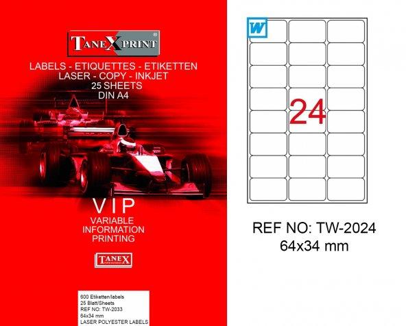 Tanex TW-2024 Polyester Lazer Yazıcı Etiketi