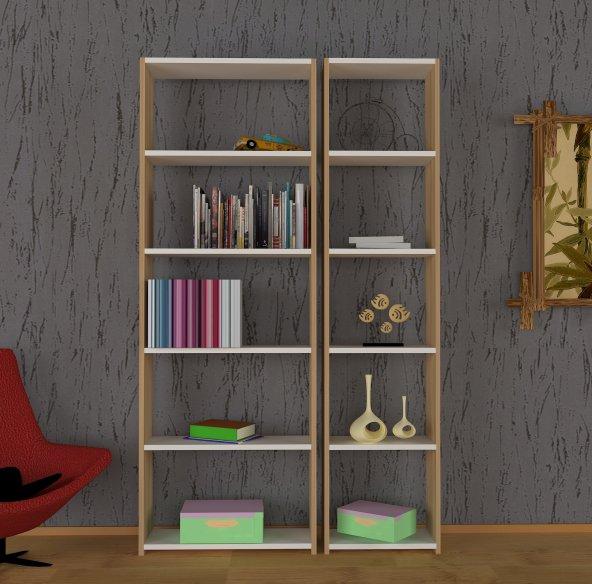 Nur Mobilya Anka 2' li Kitaplık meşe beyaz