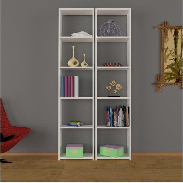 Nur Mobilya Poyraz 2'li Kitaplık Beyaz