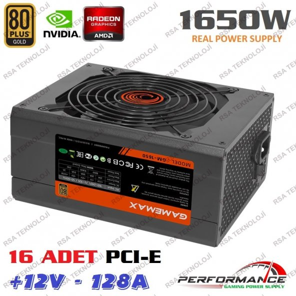 GAMEMAX GM-1650 80 Plus 1650W Power Supply 14cm Fanlı Sertifikalı 16 Adet VGA Çıkışlı Pc Btc Mining Güç Kaynağı