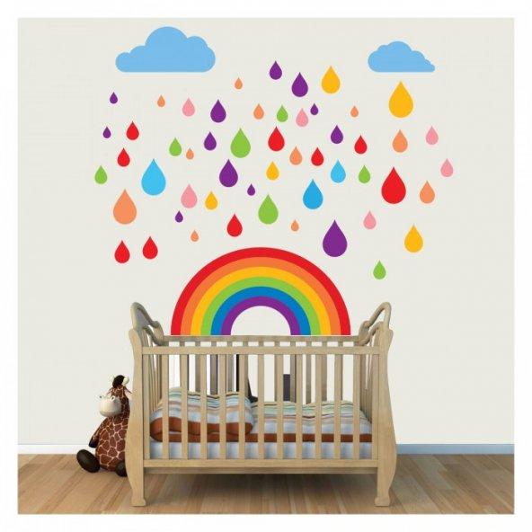 Renk Yağmuru 63x101 cm Duvar Sticker