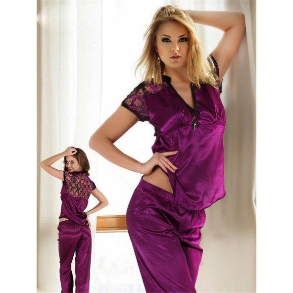 Miorre Kısa Kol Saten Bayan Pijama Takım