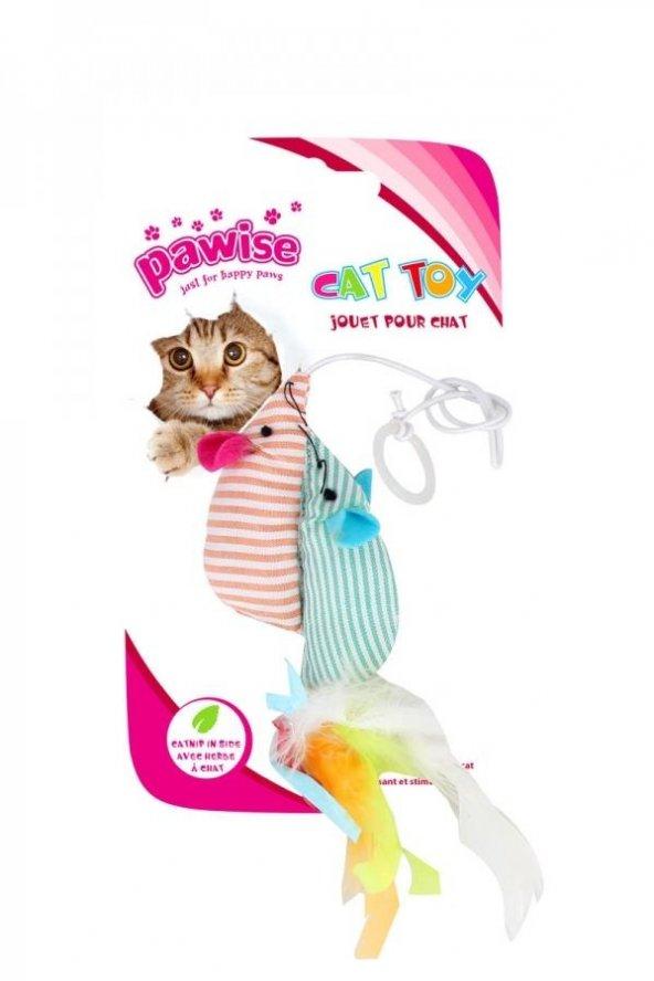Tüylü İkiz Fareli Kedi Oyuncağı