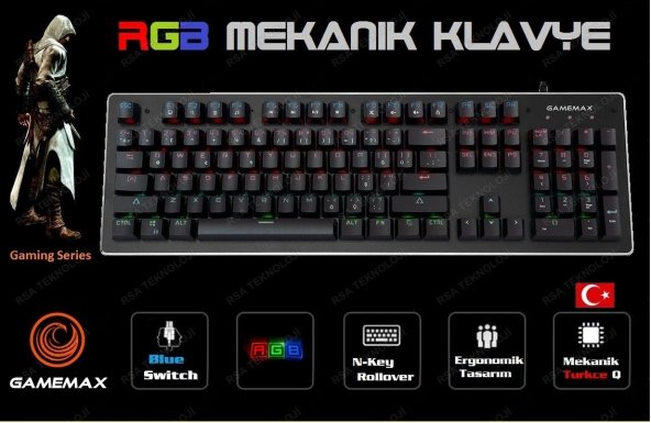 GAMEMAX GM-X560QU RGB Işıklı Gerçek Mekanik Gaming Oyuncu Klavyesi Blue Switch