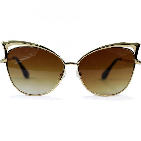 Cat Model Sarı Renk Metal Çerçeveli Kahverengi Camlı Güneş Gözlüğü