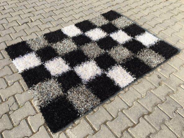 Shaggy Hali Siyah Beyaz  80x150 cm