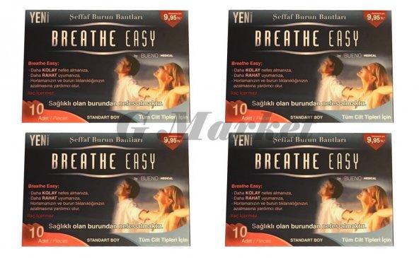 Breathe Easy Şeffaf Burun Bandı 10 lu 4 PAKET