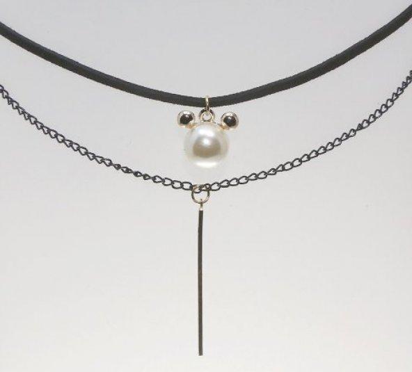 Frilly Cjoker İnci ve Uzun Zincir Çivi İkili Kolye (FKK120)