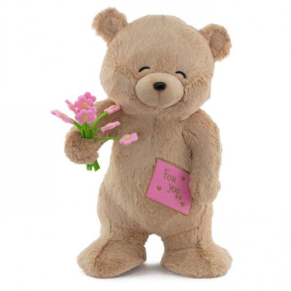 Neco Plush Sevgiliye Hediye Fluffy For You Çiçekli Ayı 55 Cm