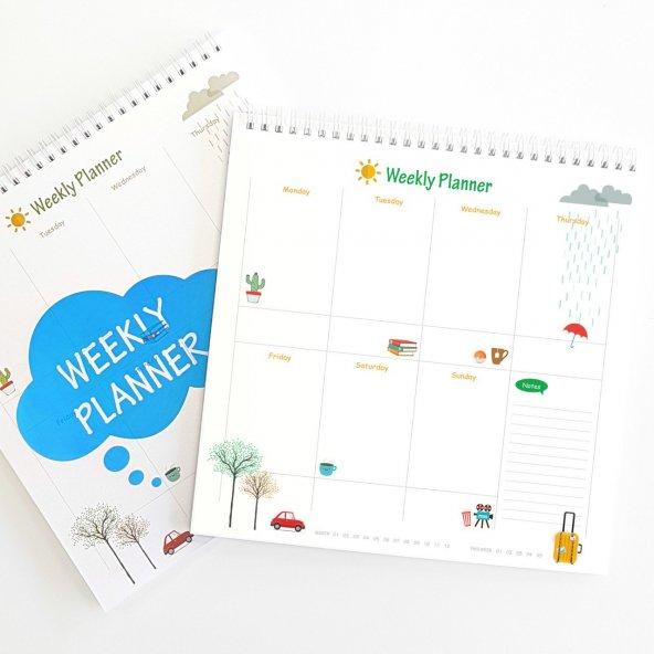 Haftalık Planlayıcı (Sümen) - Kare Mavi Renk