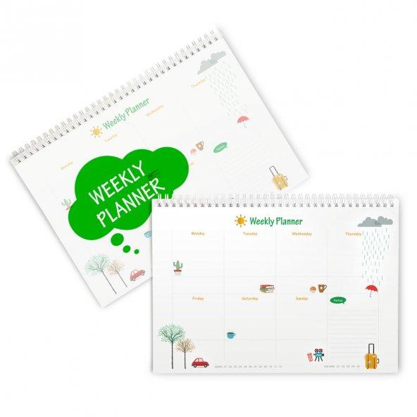 Haftalık Planlayıcı (Sümen) - A4 Boy Yeşil Renk
