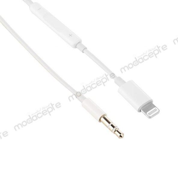 iPhone 8 Plus 3.5 mm AUX Kablo 100 cm MH021 Beyaz
