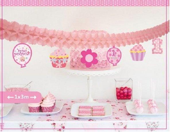 1 Adet Pembe Kız 1 Yaş Kağıt Uzar Süs,Doğum Günü Parti Malzemesi