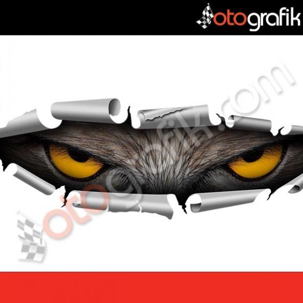OTOGRAFİK - GİZLENEN ŞAHİN GÖZLERİ RENKLİ OTO STICKER