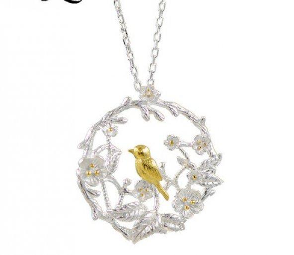 Frilly Gümüş Kuş ve Erik Çiçeği Kolye
