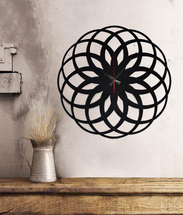 Metal Duvar Saati Yaşam Çiçeği