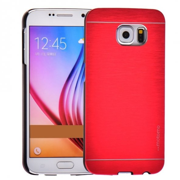 Motomo Samsung Galaxy S6 Metal Rubber Kılıf -Red