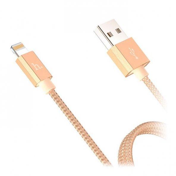 Hoco Çelik Örgü Mfi Lisanslı Gold Lightning Şarj Kablosu