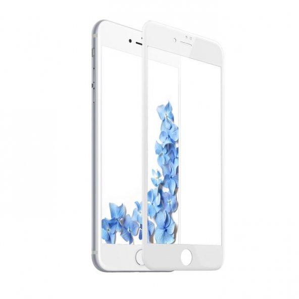 iPhone 7 Plus Beyaz ince Ekran Koruyucu Kavisli Temperli Cam