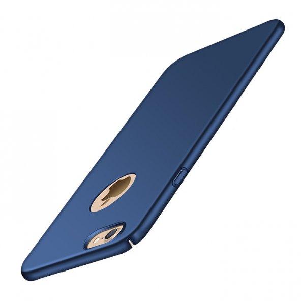 iPhone 8 Plus Kılıf Süet Yüzeyli Lacivert İnce