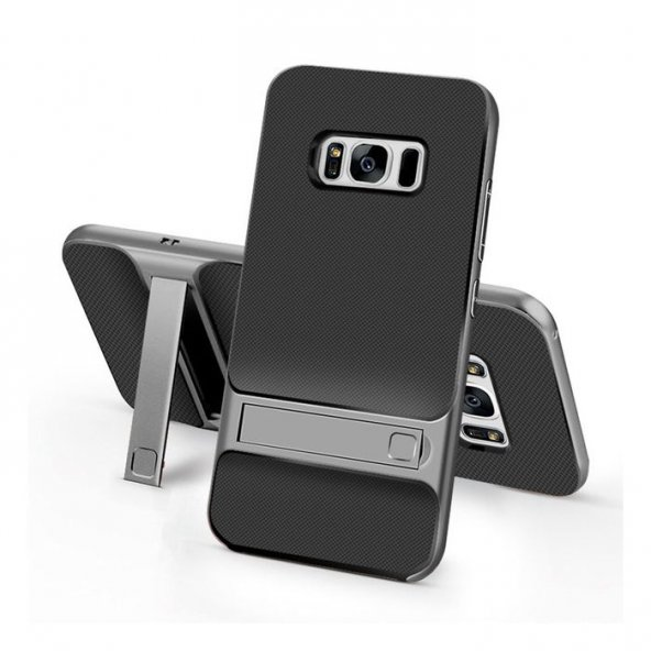 Samsung Galaxy S8 Plus Kılıf Stand Koyu Gri