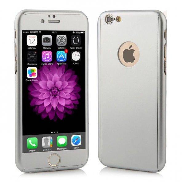 iPhone 6 6S Plus Kılıf 360 Koruma Gümüş Gri