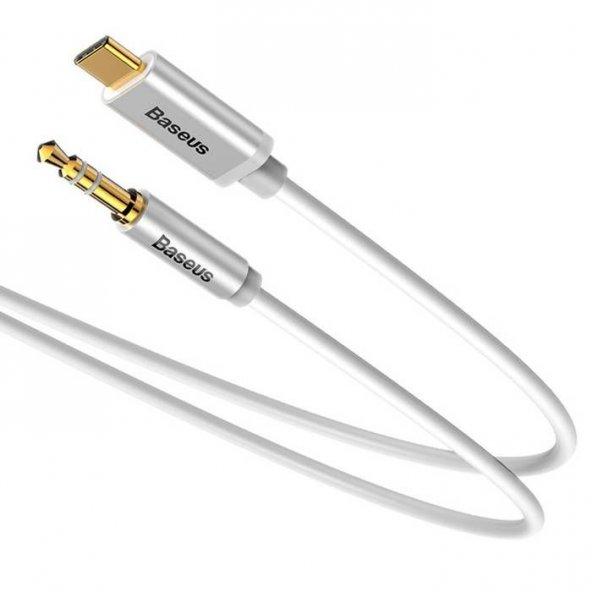 Baseus Type C to Aux Dönüştürücü Kablo Beyaz