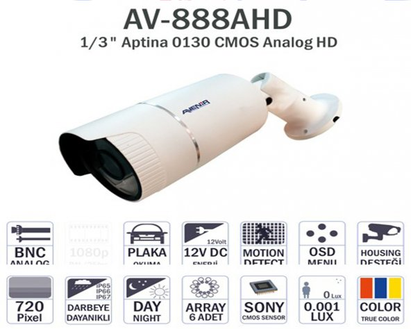 AVENIR AV-888AHD 6 ATOM LED 1,3MP 2,8-12MM LENS KAMERA