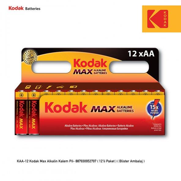 Kodak Max Alkalin Kalem Pil - 12 Adet Fiyat Avantajlı Paket