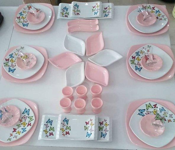 Keramika Açık Pembe Butterfly Kahvaltı Takımı