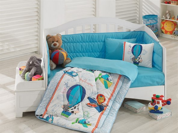 Cotton Box Ranforce Bebek Uyku Seti Uçan Dostlar Mavi