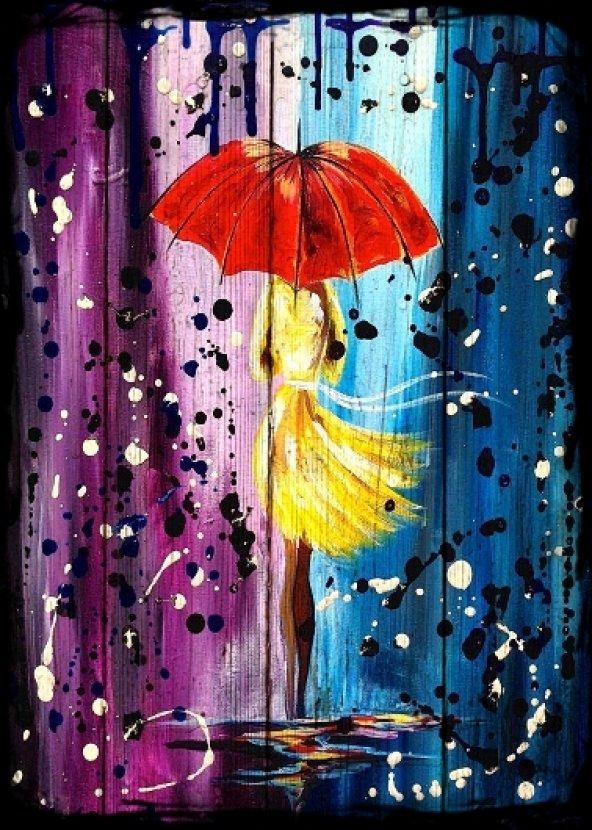 Yağmur Kız Şemsiye Ahşap Eskitme Tablo Ev,cafe,ofis dekorasyonu