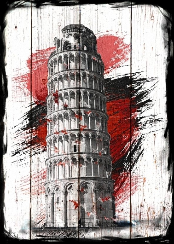 Pizza kulesi İtalya Ahşap Eskitme Tablo Ev,cafe,ofis dekorasyonu