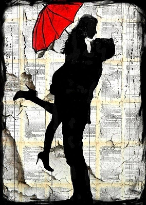 Aşk,sevgili,şemsiye Ahşap Eskitme Tablo Ev,cafe,ofis dekorasyonu