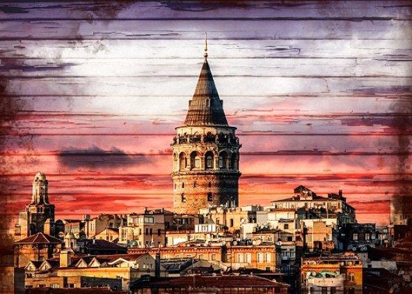 Galata Kulesi Ahşap Eskitme Tablo Ev,cafe,ofis dekorasyonu
