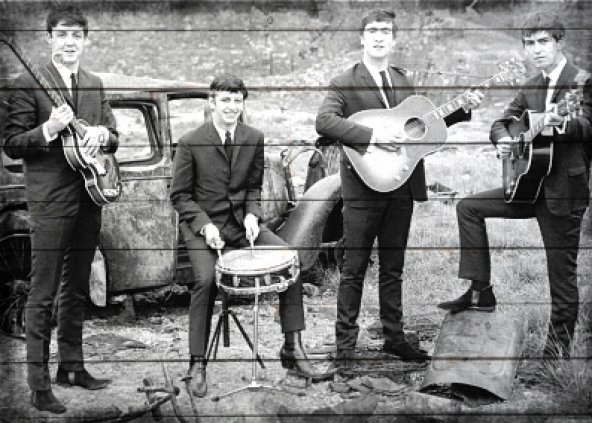 Beatles Ahşap Eskitme Tablo Ev,cafe,ofis dekorasyonu