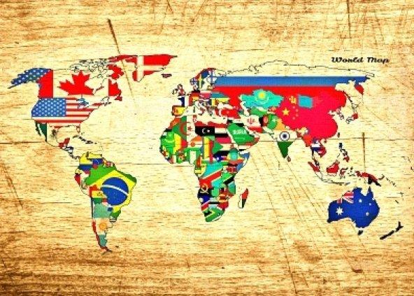 dünya harita Ahşap Eskitme Tablo Ev,cafe,ofis dekorasyonu