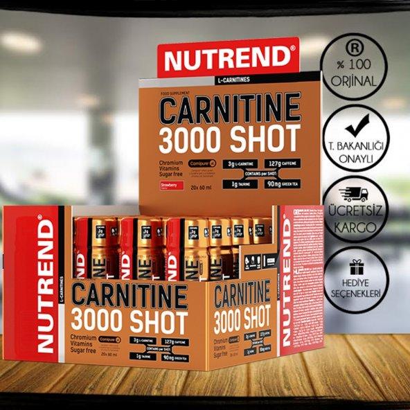 NUTREND L-Carnitine SHOT 3000mg 20 Ampül L-Karnitin + 3 HEDİYE