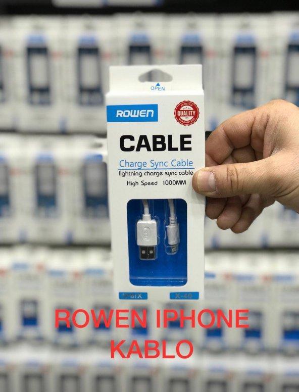 rowen iphone 5 6 7 8 - plus ve  x  modellerine  uyumlu  şarj  data  kablosu