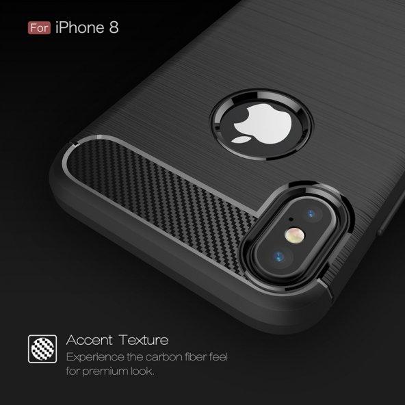 Apple iPhone X Silikon Karbon Fiber Kılıf