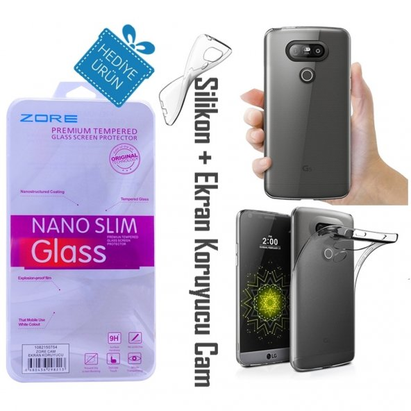 LG G5 Şeffaf İnce Kılıf + Ekran Koruyucu Cam