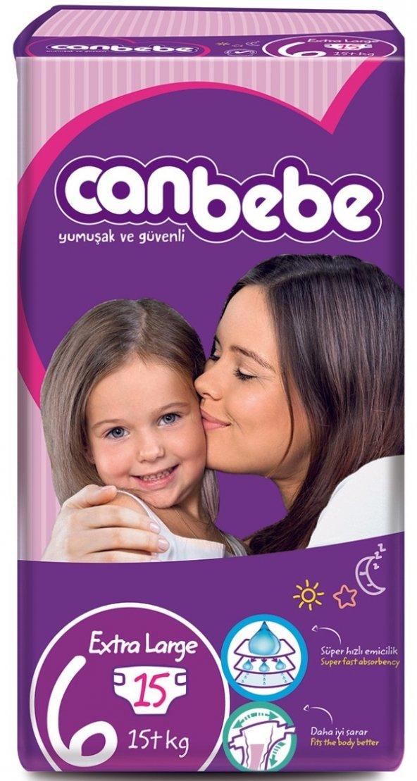 Canbebe Eko Beden:6 (15+Kg) Extra Large 15 Li Yeni Bebek Bezi