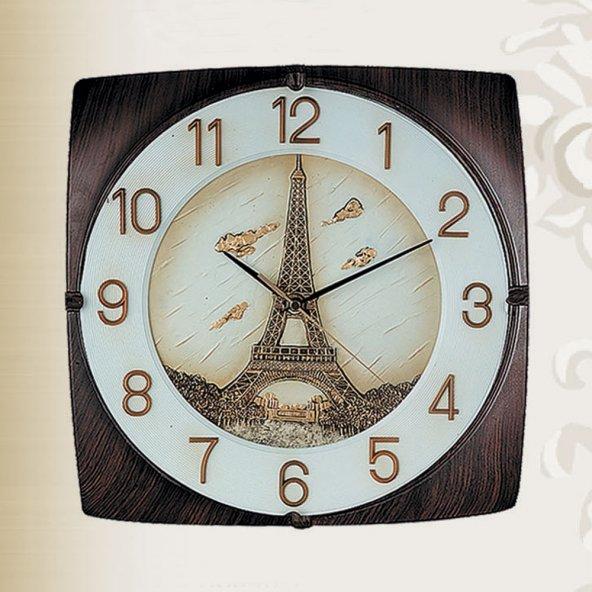 REGAL 8045 A Ahşap Renk Kasa Kabartma Eyfel Figürlü Duvar Saatı